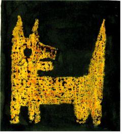 Bild Hund gelb auf schwarzem Grund